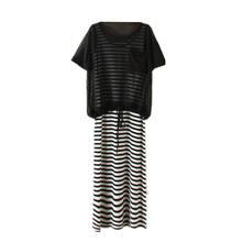 韩版女装短袖网纱罩衫大码条纹长裙夏季莫代尔两件套连衣裙套装裙