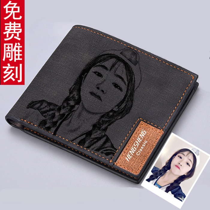 Authentic mens short wallet male youth trend personalized wallet boy student couple wallet lettering birthday gift