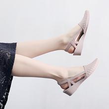 韓版 沙灘鞋 時尚 尖頭淺口鏤空防水果凍鞋 坡跟包頭軟面塑膠雨鞋 夏季