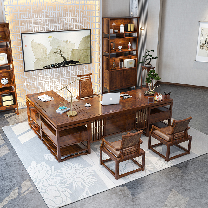 New Chinese style desk and chair combination boss desk president desk simple large class desk general manager office solid wood furniture