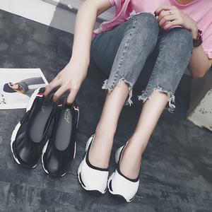夏季软底圆头休闲旅游鞋小白鞋平底真皮鞋孕妇单鞋厚底女鞋懒人鞋