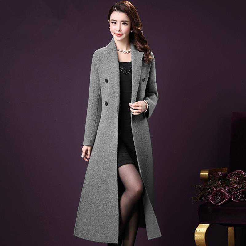 2020 new large size worsted coat slim medium length double breasted over the knee woolen coat for women