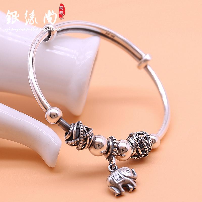 999 foot silver transfer pearl retro womens bracelet simple national style Elephant Thai pure silver bracelet for girlfriend