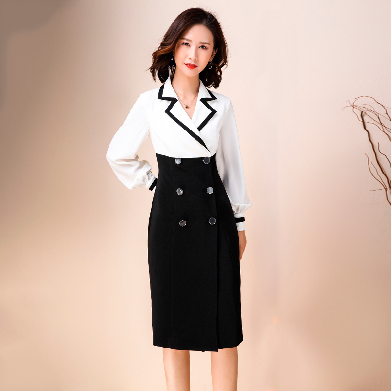 Dress formal occasion spring and autumn womens double breasted professional dress temperament buttocks wrapped suit skirt wrapped dress