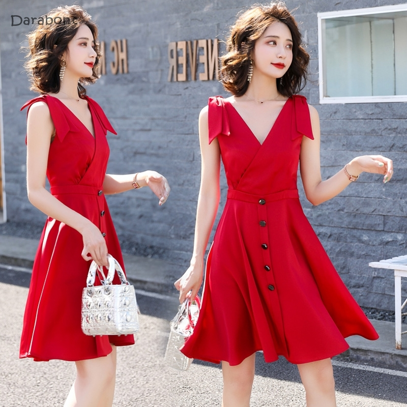 2019新款连衣裙夏季显白酒红色气质领法式简约收腰显瘦优雅字裙中