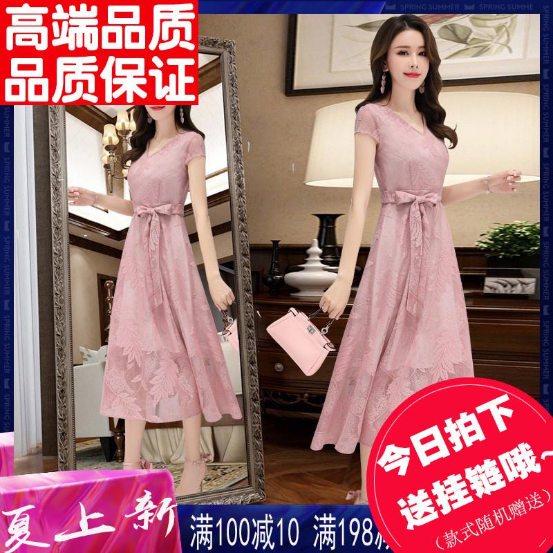 夏季洋气连衣裙2019新款夏流行长款女士裙子气质收腰显瘦蕾丝长裙