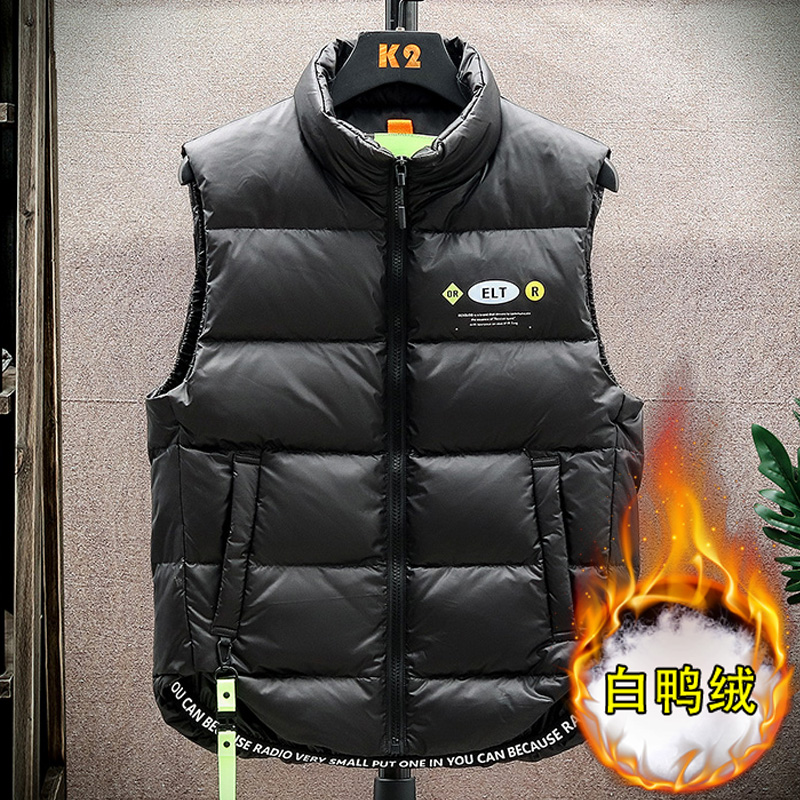 Antarctic autumn and winter down vest mens Hong Kong Style couple warm printed vest Korean Trend white duck down horse