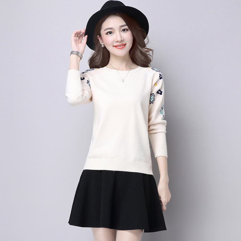 Pullover Sweater womens spring dress 2020 new Korean loose casual long sleeve simple embroidery Short Knitwear top