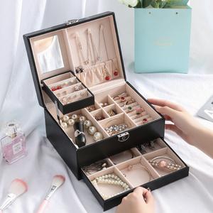 欧式公主首饰盒女双层带锁大容量饰品盒子项链戒指手镯收纳整理箱