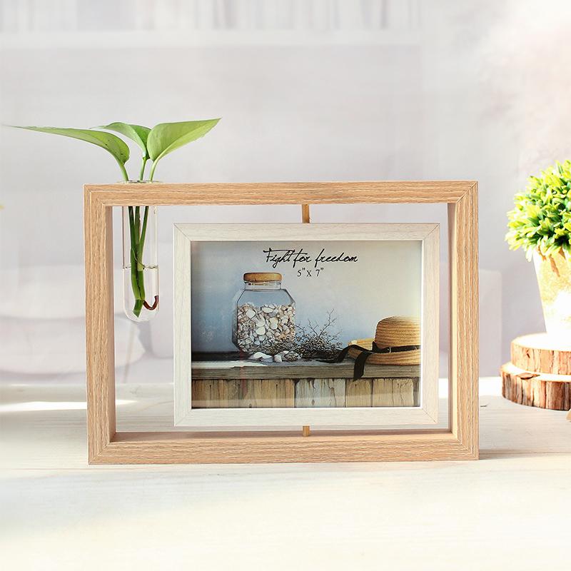 創意雙面相框擺台鏡子照片框雙用6寸7寸書桌辦公桌旋轉水培像架框