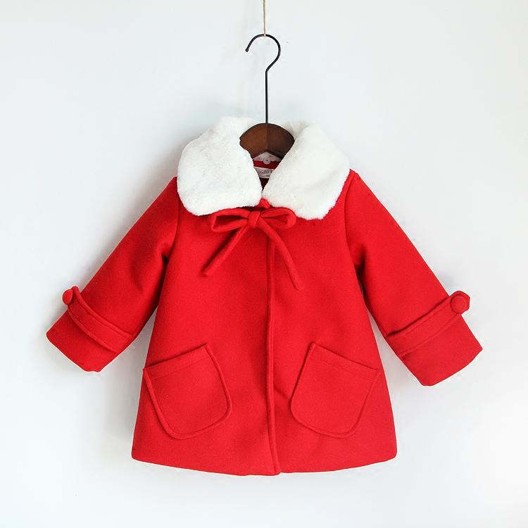 タオバオ仕入れ代行-ibuy99|长大衣女|反季清仓中国红冬款女童呢子加厚大衣儿童宝宝毛领中长款毛呢外套