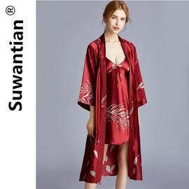 浴袍女春秋冰丝中长款睡裙红色结婚睡袍晨袍女新娘大码浴衣薄款夏