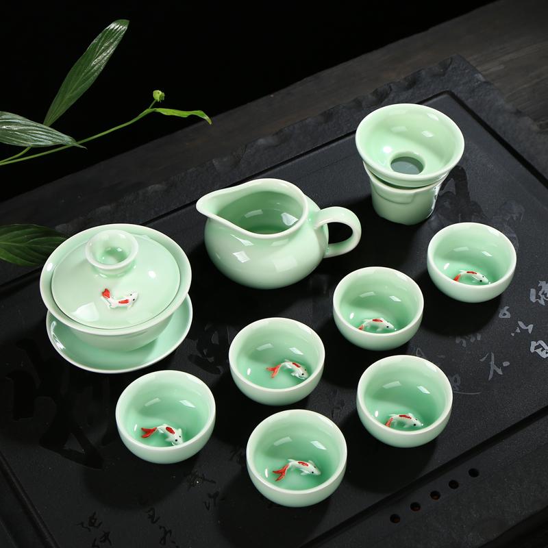 Цвет морской волны чайный сервиз супница чайник рыба кубок костюм дракон весна цвет морской волны цвет карп чайный сервиз специальное предложение