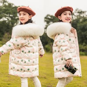 巴拉年华女童中长款韩版新款羽绒服