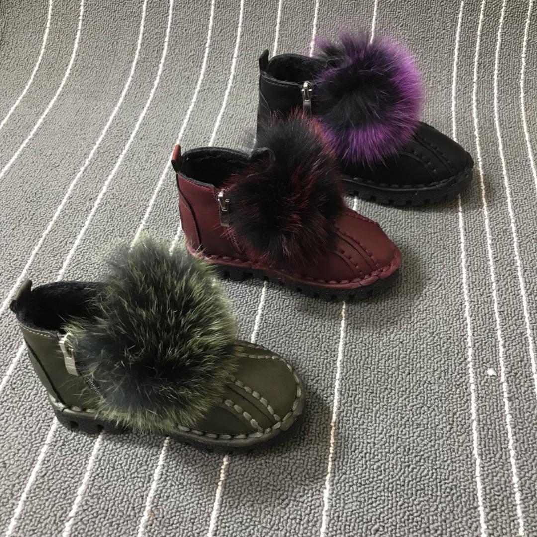 2017年冬季新款儿童棉鞋  真狐狸毛高档温州童鞋 0713
