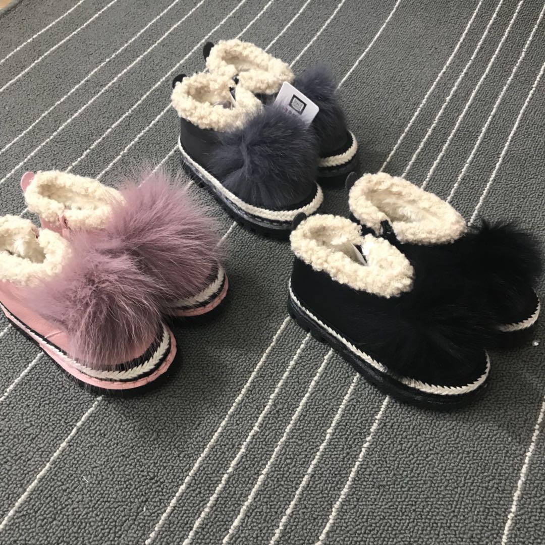 2017年冬季新款儿童童鞋 高档温州女童靴真毛加绒儿童棉鞋FS8538