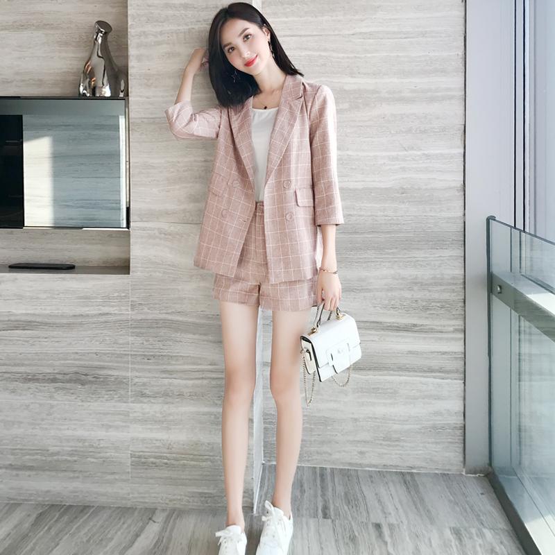 2020春装初秋小个子显高穿搭网红两件套韩版洋气短裤西装套装女