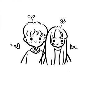 手绘头像Q版卡通简笔画头像情侣手机壳图案设计漫画定制照片手绘