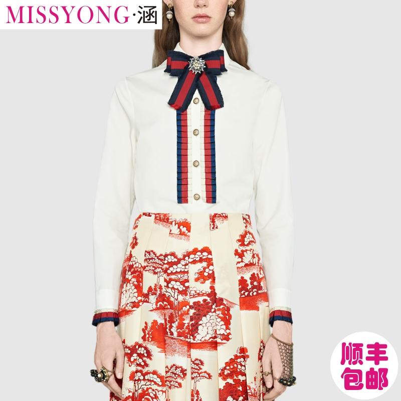 2018欧美新款高级定制女装时尚英伦风撞色织带真丝白衬衣私人定制