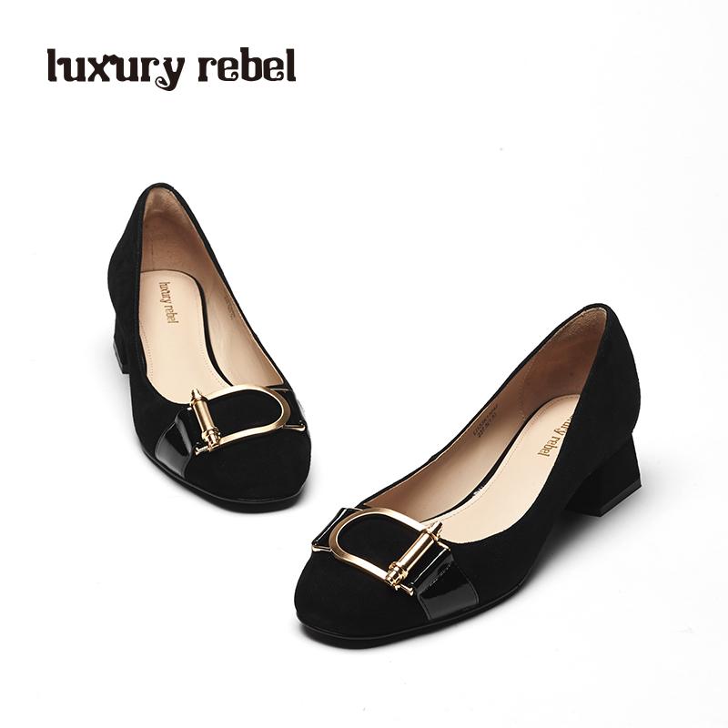 LR女鞋Luxury Rebel 2018春季新品圆头粗跟套脚单鞋中跟浅口女鞋