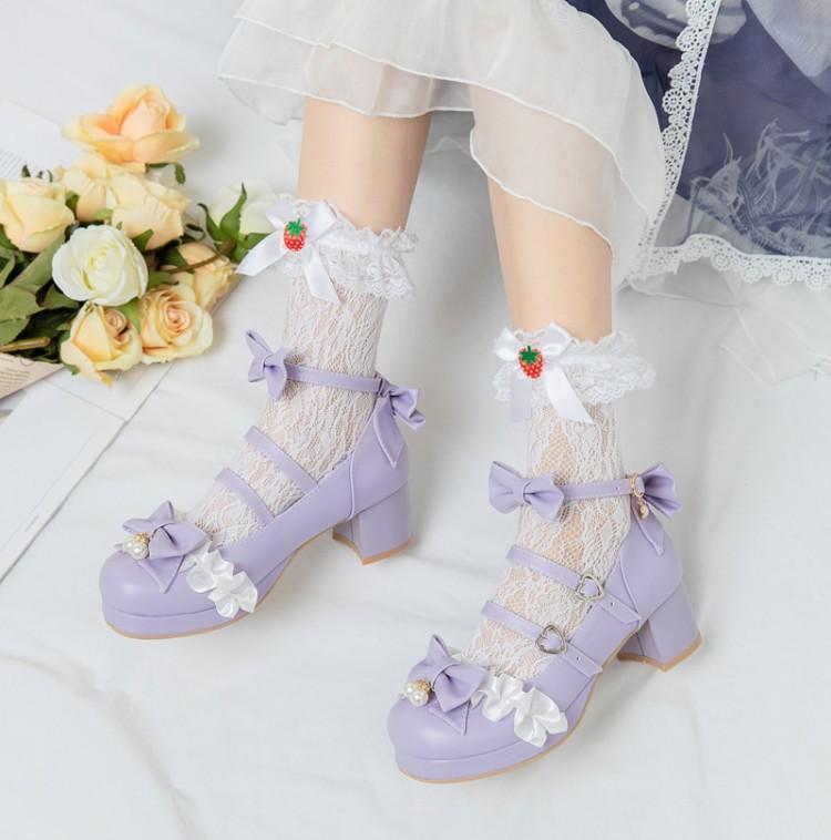 2021春日韓ロリータ粗中と蝶々結び靴少女役で漢服靴に扮する