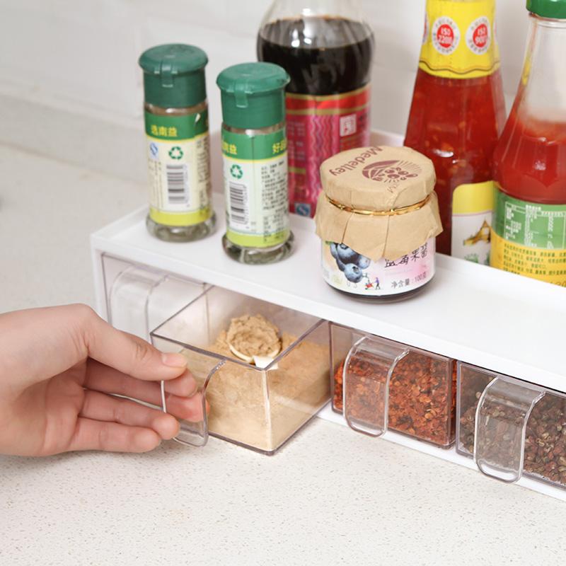 调料盒抽屉式佐料盒多功能调料罐套装厨房用品置物架子盐罐调味盒满9元可用2元优惠券