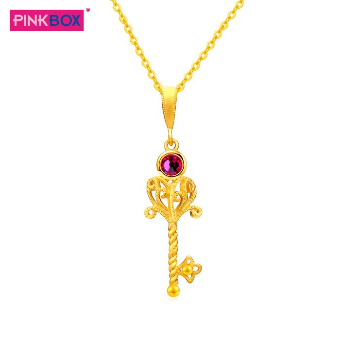 香港PINKBOX娉饰珠宝专柜黄金吊坠女足金权杖钥匙项链挂坠 经典款