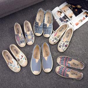帆布鞋女春季透气一脚蹬平底老北京布鞋女休闲透气渔夫懒人单鞋子