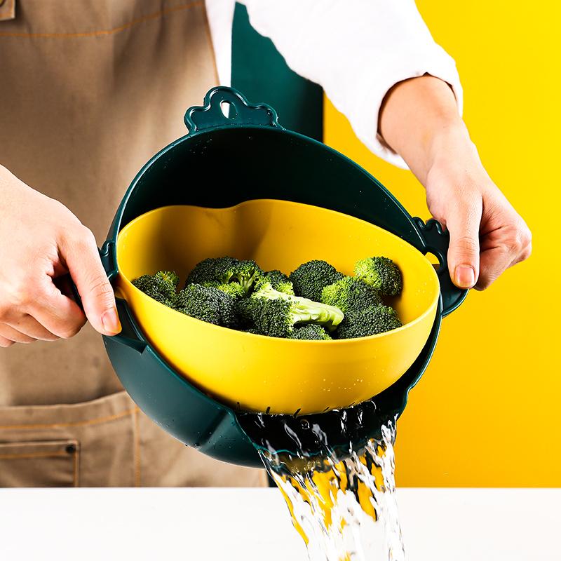双层旋转洗菜盆沥水篮洗菜篮子翻转大号多功能厨房淘米神器洗水果