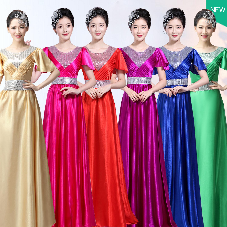 女士合唱服长裙合唱团演出服装舞台国庆团体大合唱表演服装女成人