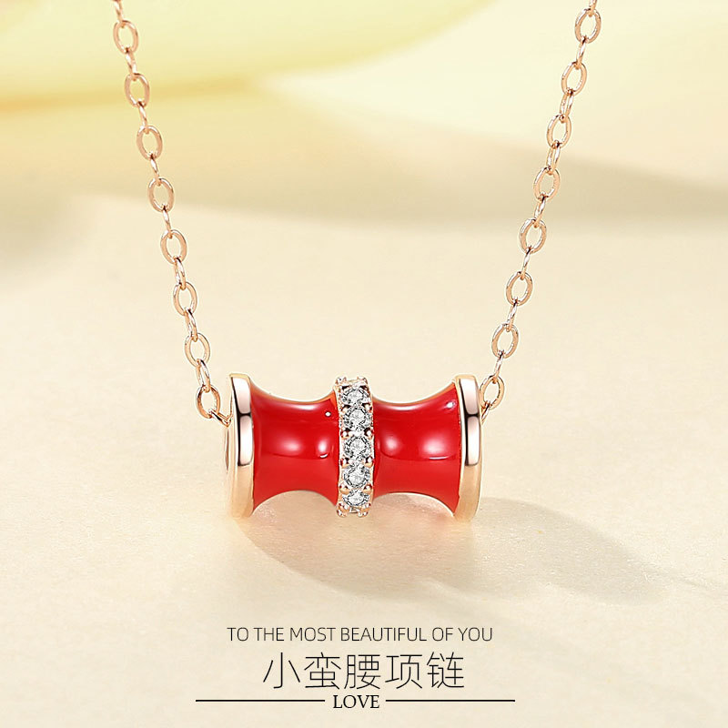 S925 Sterling Silver small waist Necklace Pendant simple red clavicle chain style Lovely Japanese factory