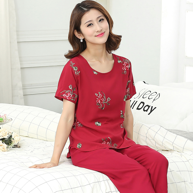 Pajamas womens summer pure cotton short sleeve rayon silk mother embroidery middle aged and old womens wear can wear home suit