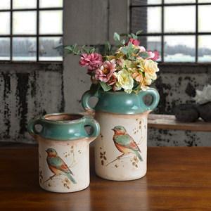 美式田园乡村台式花瓶家居饰摆件手工陶瓷水培花器种植花盆老桩盆