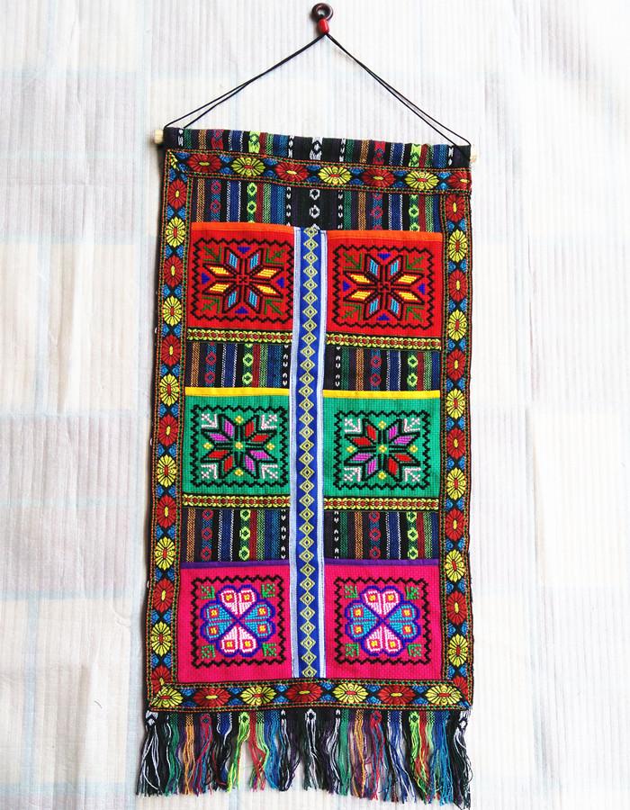Этнический стиль небольшой буклет вставить мешок Гуанси Чжуан Brocade стены этнических ручная работа Шкатулка для настенного шкафа Art Pouch