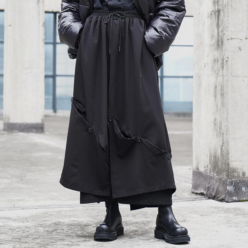 原创设计潮牌休闲裤暗黑系山本风格阔腿裤大脚裤九分裙裤X090P95