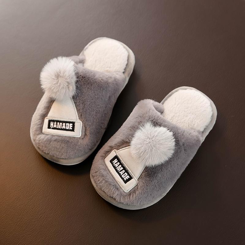 儿童棉拖鞋秋冬保暖室内家用男童女童可爱毛毛拖鞋小孩居家棉鞋热销17件正品保证