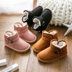 宝宝雪地靴冬季1-3岁2男童棉鞋防滑加绒保暖短靴小孩女童儿童冬鞋