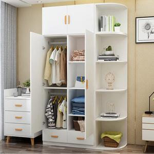 衣柜现代简约推拉门衣橱组装柜子卧室北欧组合板式儿童大衣柜实木图片