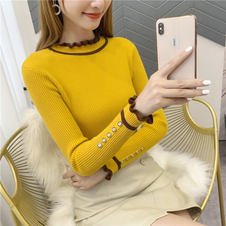 New autumn and winter tight and slim half high collar womens wear versatile knitted bottoming shirt womens button long sleeve fungus