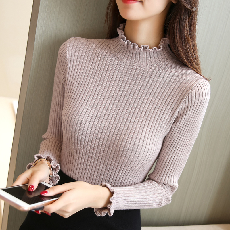 New style autumn and winter tight show thin half high collar womens versatile knitting bottoming shirt womens long sleeve wood ear collar top sweater