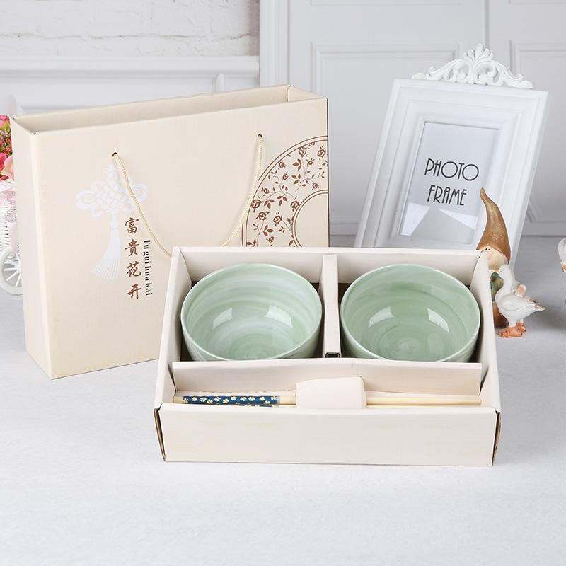 日式翡翠碗 陶瓷家用餐具套裝高檔 碗筷 裝簡約情侶學生
