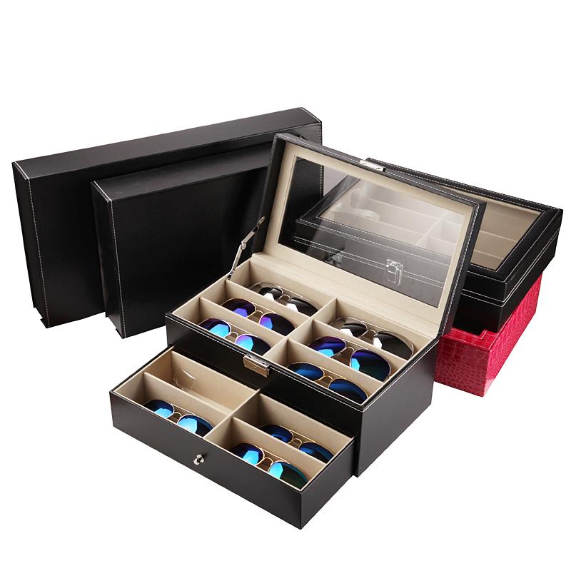 皮革眼镜收纳盒8格12格 时尚太阳镜展示盒 皮质大墨镜盒多格 包邮