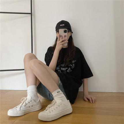 chic低帮小白鞋2020新款女鞋夏季薄款学生白色帆布鞋ulzzang百搭