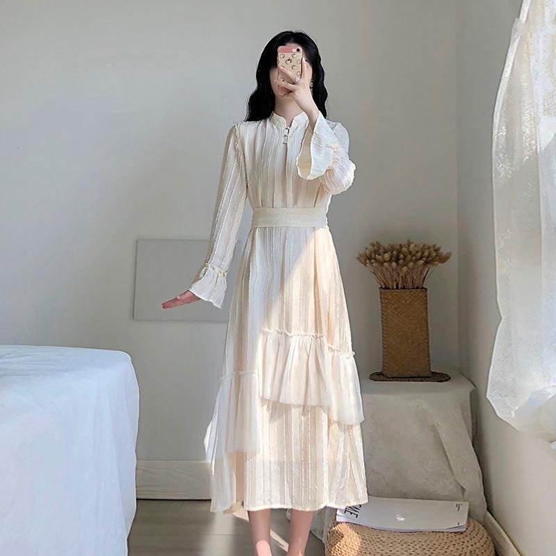 卡所2019秋季新款气质法式智熏复古仙女超仙温柔风旗袍改良连衣裙