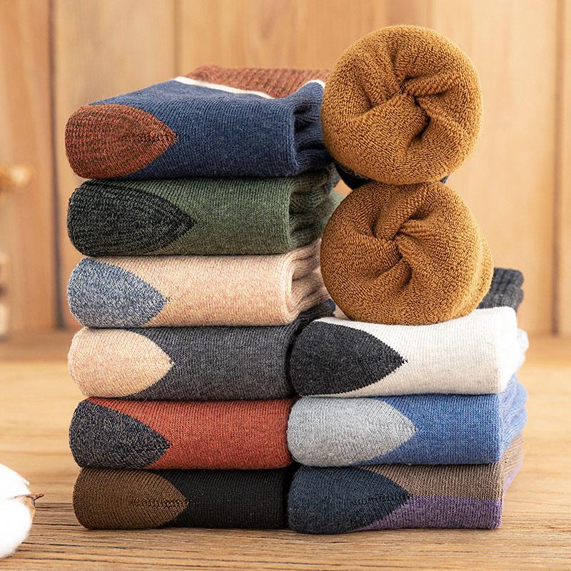 羊毛袜子男士纯棉中筒袜秋冬款加厚保暖毛圈冬天毛巾加绒防臭长袜