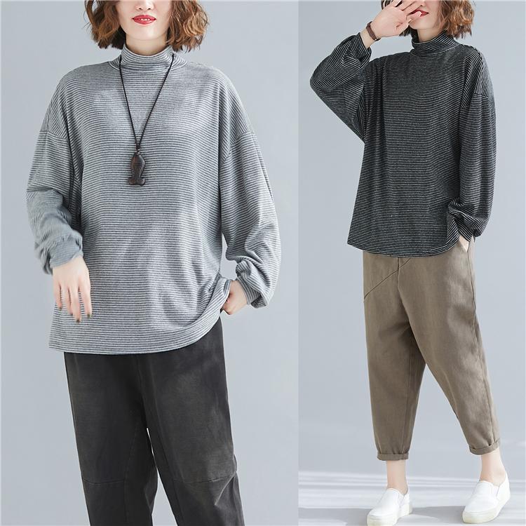 实拍现货8831条纹半高领T恤磨毛打底衫休闲宽松大码上衣女限45起