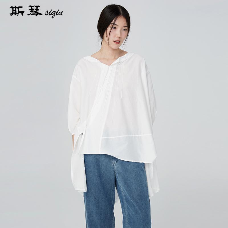 斯琴女装夏季纯色纽扣不规则开衩下摆休闲中长七分袖衬衫AFXS019
