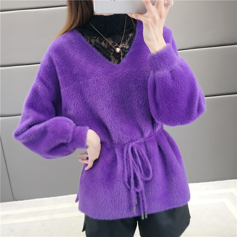 Fabulous knitwear imitation mink sweater womens autumn wear 2019 new Pullover bottoming sweater for autumn and winter thickening