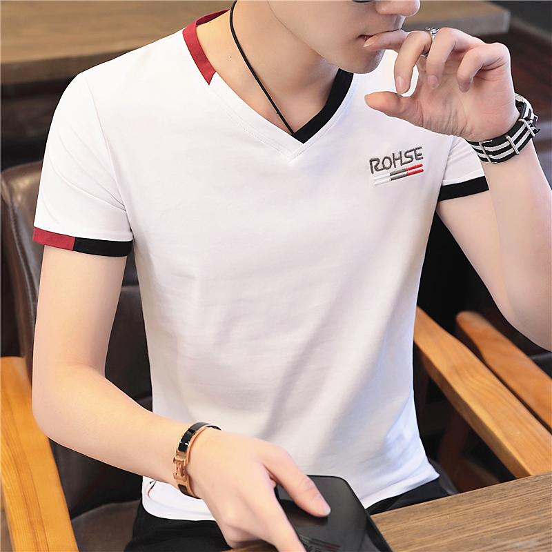 夏季男士短袖T恤V领修身潮流体恤�B男装潮牌衣服2020韩版纯棉半袖