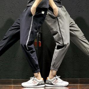 夏季薄款束脚裤九分男宽松男士小脚9分裤休闲裤子韩版潮流哈伦裤